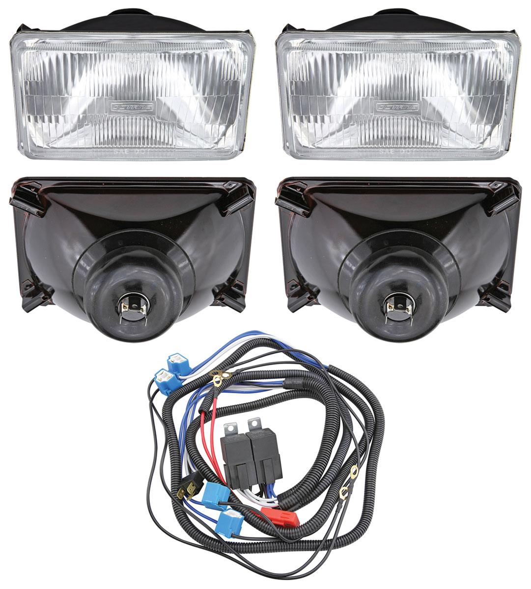 Photo of H4 Headlight Upgrade Kit four 55/60 H4 headlights & harness