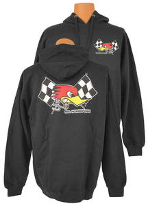 "1961-74 LeMans Mr. Horsepower ""Cross Flags"" Hoodie Black, by Clay Smith"