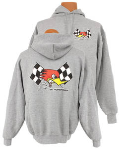 "1961-77 Cutlass Mr. Horsepower ""Cross Flags"" Hoodie Gray, by Clay Smith"