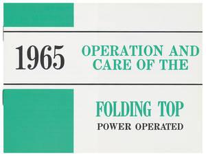 1965 Tempest Convertible Top Operation Manuals