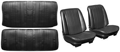 Chevelle Seat Upholstery, 1970 Leather Buckets w/Coupe Rear