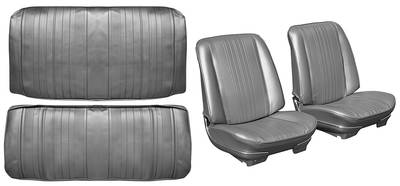 Chevelle Seat Upholstery, 1970 Leather Buckets w/Convertible Rear