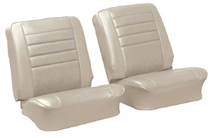 Chevelle Seat Upholstery, 1965 Leather Buckets w/Convertible Rear