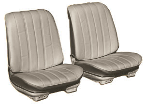 Chevelle Seat Upholstery, 1966 Leather Buckets w/Coupe Rear, by Distinctive Industries