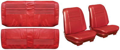 Chevelle Seat Upholstery, 1967 Leather Buckets w/Coupe Rear