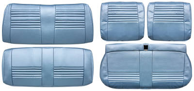 Chevelle Seat Upholstery, 1967 Leather Split Bench w/Convertible Rear