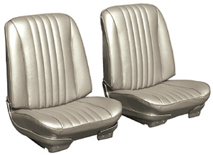Chevelle Seat Upholstery, 1968 Leather Buckets w/Coupe Rear