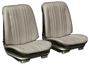 Chevelle Seat Upholstery, 1969 Leather Buckets w/Convertible Rear