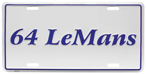 """1964 License Plate, """"LeMans"""" Embossed, by RESTOPARTS"""