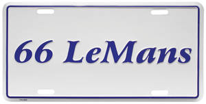 "1966 License Plate, ""LeMans"" Embossed, by RESTOPARTS"