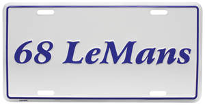 """1968 License Plate, """"LeMans"""" Embossed, by RESTOPARTS"""