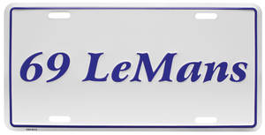 "1969-1969 LeMans License Plate, ""LeMans"" Embossed, by RESTOPARTS"