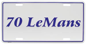 "1970 License Plate, ""LeMans"" Embossed, by RESTOPARTS"