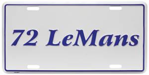 "License Plate, ""LeMans"" Embossed"