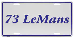 "1973 License Plate, ""LeMans"" Embossed, by RESTOPARTS"