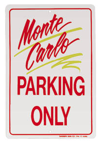 1978-88 Parking Only Sign, Aluminum Monte Carlo, by RESTOPARTS