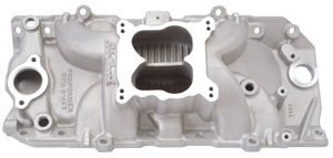 1970-75 Chevelle Intake Manifold, Performer RPM 2-O Satin Finish Spread-Bore, by Edelbrock