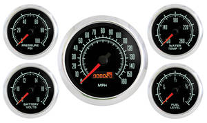 1970-1977 Monte Carlo Gauge, Retro Muscle (Five Gauge Set: Volt, Oil Pressure, Water Temperature, Fuel & Speedometer), by Marshall Instruments