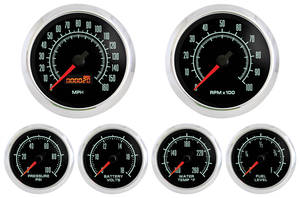 1970-77 Monte Carlo Gauge, Retro Muscle (Six Gauge Set: Volt, Oil Pressure, Water Temperature, Fuel, Tachometer & Speedometer)