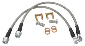 1969-77 Chevelle Brake Hoses, Braided Stainless Steel (Front), by CPP