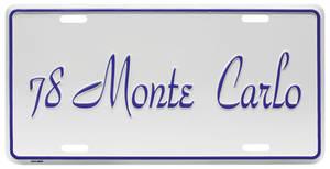 """1978-1978 Monte Carlo License Plate, """"Monte Carlo"""""""