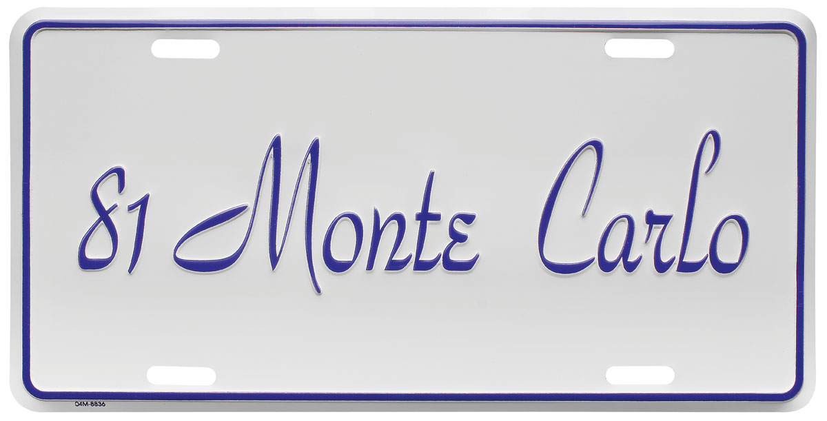 "Photo of License Plate, ""El Camino"" (Custom Embossed) Monte Carlo"