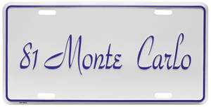 """1981 License Plate, """"Monte Carlo"""""""