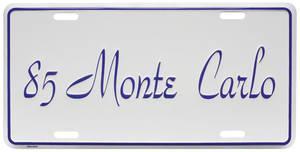 """1985-1985 Monte Carlo License Plate, """"Monte Carlo"""""""