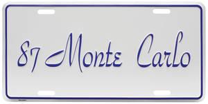 """1987 License Plate, """"Monte Carlo"""""""