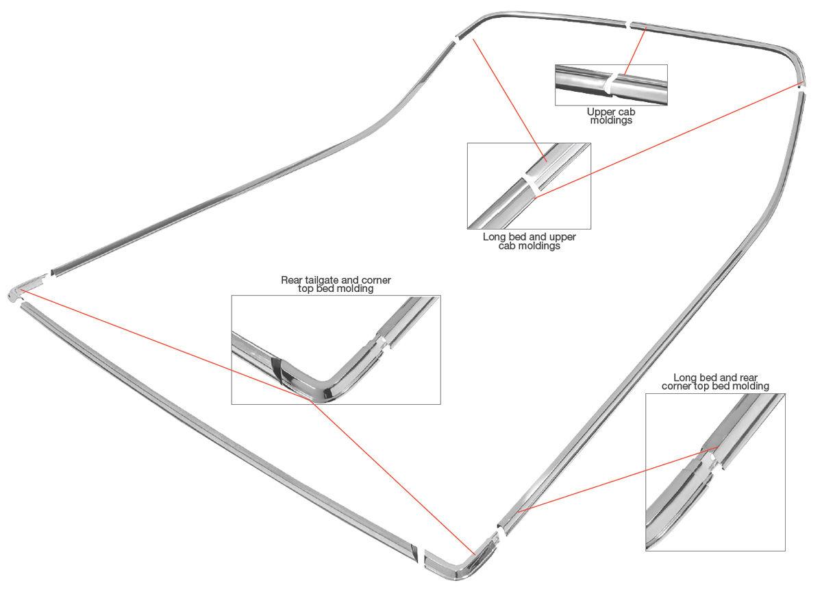 RESTOPARTS 1978-87 Bed Molding Kit, El Camino (Complete
