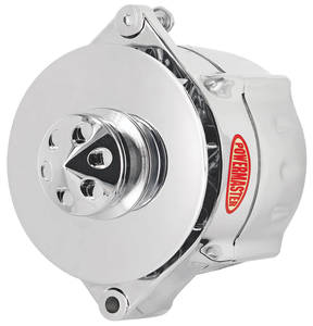 1961-77 Cutlass Alternator, Smooth Look 1-Groove Pulley Chrome, 100-Amp, by POWERMASTER