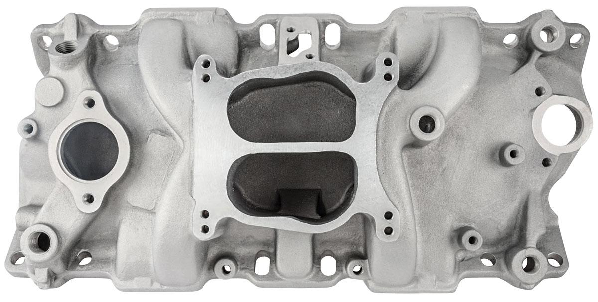 "Photo of Manifold, Aluminum Intake Small Block, dual-plane 4.050"" tall, RPM range: idle-5500"