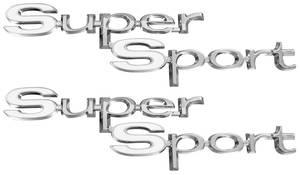 """1967-1967 El Camino Quarter Panel Emblems, 1967 """"Super Sport"""", by RESTOPARTS"""