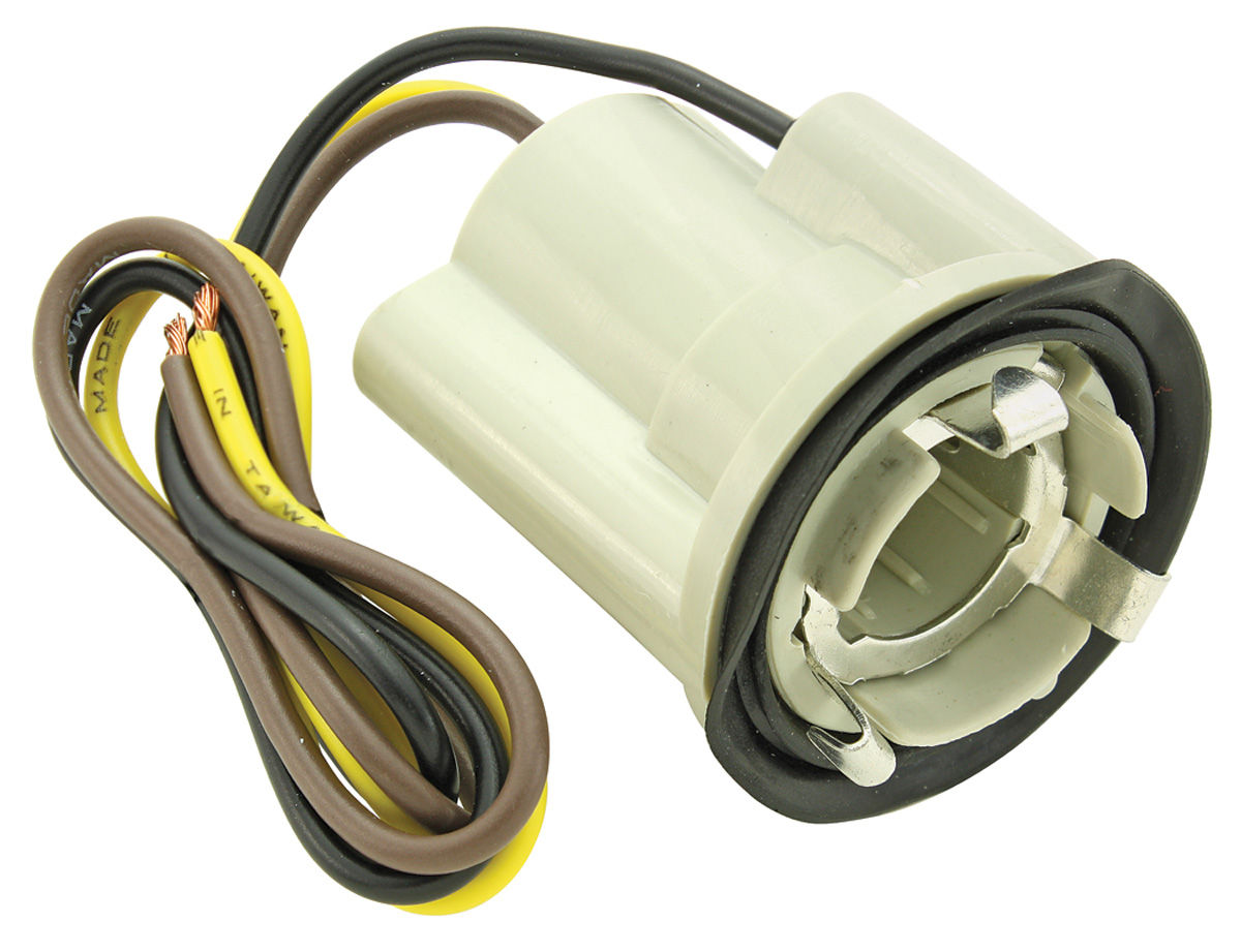 "Photo of El Camino Light Socket; Park, Stop & Tail Light 3-Wire, Fits 1"" Hole internal ground seat (7/8"" twist lock)"