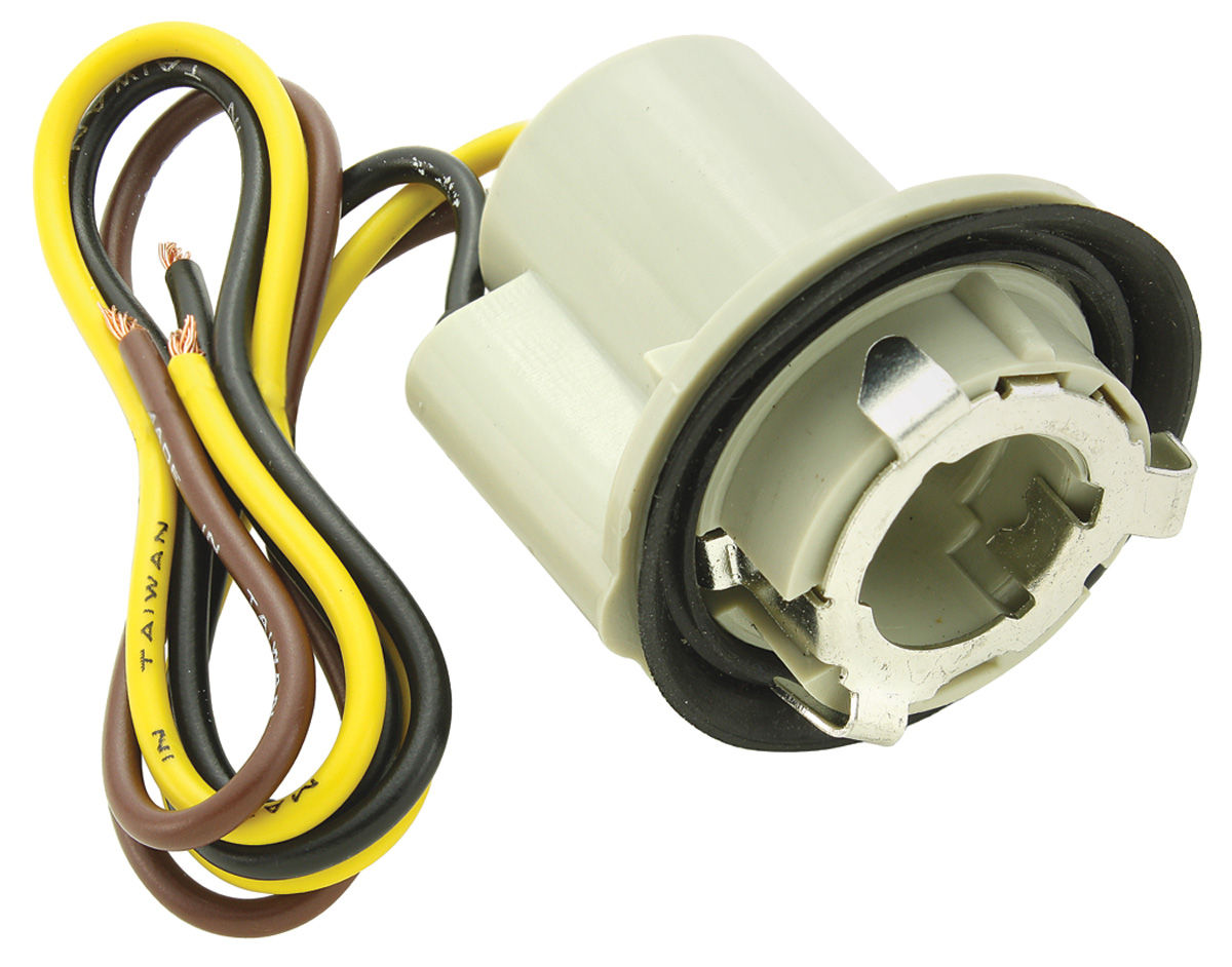 """Photo of El Camino Light Socket; Park, Stop & Tail Light 3-Wire, Fits 1"""" Hole external ground seat (1-1/4"""" twist lock)"""