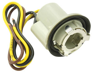 "1978-88 Malibu Light Socket; Park, Stop & Tail Light 3-Wire, Fits 1"" Hole External Ground Seat (1-1/4"" Twist Lock)"