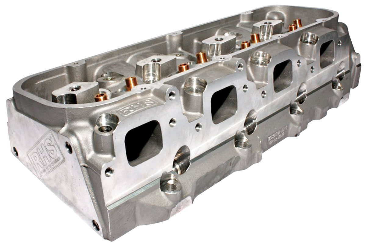 "Photo of Cylinder Heads, Big Block Chevrolet, RHS 320cc, 2.250""/1.880"" In/Exh Valve mech. roller, 119c, angeled plug"