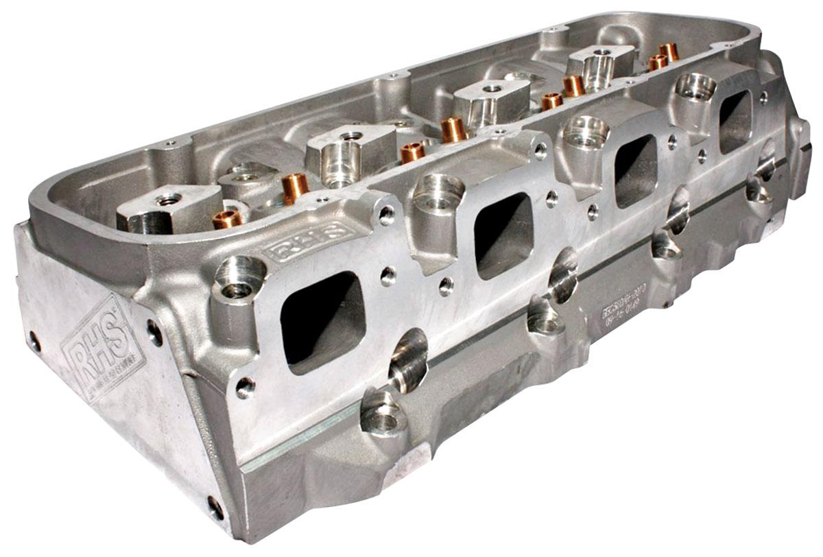 "Photo of Cylinder Heads, Big Block Chevrolet, RHS 360cc, 2.250""/1.880"" In/Exh Valve hyd. roller, 119c, angeled plug"