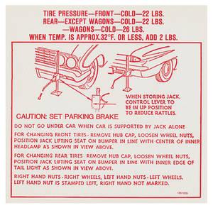 1962 Skylark Jacking Instruction Decal (#1351035)
