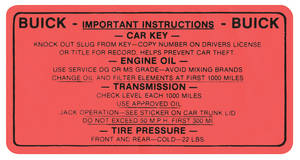 1961-1962 Skylark Interior Decal Glove Box Tire and Oil
