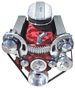 1961-66 Skylark Pulley Conversion Kit, March Style Track Serpentine Manual Steering (Nailhead) - 83'' 6 Rib