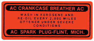 1961-62 Engine Compartment Decal Skylark/Special Oil Filler Cap, V8