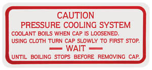 1961 Skylark Engine Compartment Decal Cooling System Caution