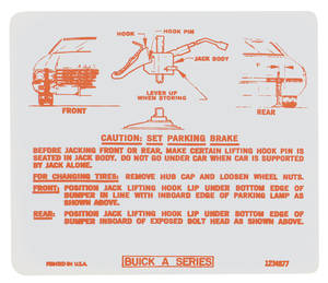 1970-1970 Skylark Jacking Instruction Decal (#1234877)