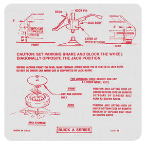 1971-1971 Skylark Jacking Instruction Decal (#12371-M)