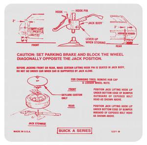 1971 Skylark Jacking Instruction Decal (#12371-M)