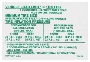 1970 Skylark Tire Pressure Decal (#1234158)