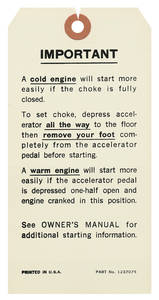 1971-72 Skylark Interior Decal Eng. Starting Instruction Tag (#1237075)