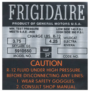 1966-1966 Skylark Air Conditioning Compressor Decal Frigidaire (#5910550)