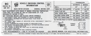 1972-1972 Skylark Emissions Decal 350-4V AT/MT (BC, #1240254)